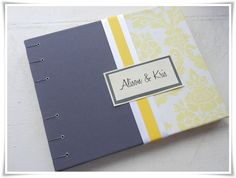 Gray and yellow wedding guest book.  Love this combo!!!