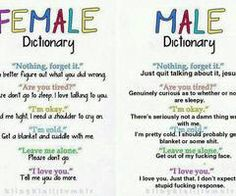 Female n male have a dictionary