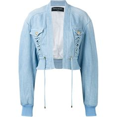 Balmain cropped denim bomber ($1,765) ❤ liked on Polyvore featuring outerwear, jackets, blue, balmain, blue bomber jacket, long bomber jackets, blue jackets and bomber style jacket