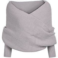 Verdusa Women's Autumn Off Shoulder Cross Scarf Sweater (£15) ❤ liked on Polyvore featuring tops, sweaters, gray off the shoulder sweater, gray top, gray sweaters, off shoulder tops and grey top