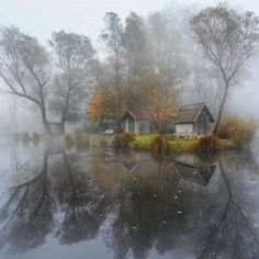 Abandoned village homes in Hungary shrouded in fog. Photo by Gabor Dvornik. by itsabandoned