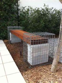 Gabion Seat Made in Australia Created with intention custom gabions support hand crafted Australian timber making this outdoor gabion seat truly unique, ringing true to concept with stability and grandiose. Urban Kubez emphasises the pinnacle for gabion cage design with only