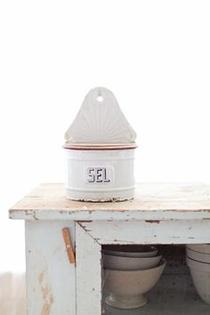 Vintage White French Enamelware SEL Box
