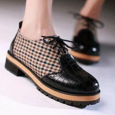 32-43 Fashion Patchwork Lace up Round toe Oxfords Shoes 2016 Square Heels Flat Platform Shoes Spring Autumn Women Shoes Woman