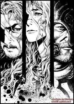 LOTR character illustration (4) by evankart.deviantart.com  Eomer, Eowyn and uncle Theoden