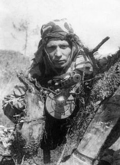 Red Army scout in full camo, locked and loaded and ready. Eastern Front.