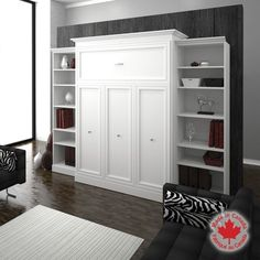 Bestar – Studio Queen Wall Bed 3-pc. Set – White