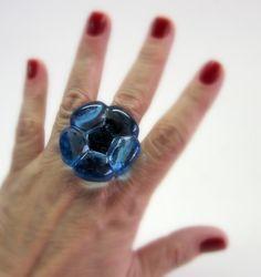 Vidro Azul   base metal n 19   3,5 cm diam   R$37,00