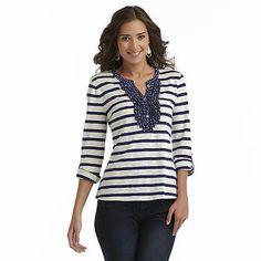 Canyon River Blues Women's Tabbed Henley Shirt - Striped Sears $12