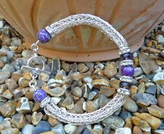 Viking Knit Purple Gemstone Bracelet  Viking by BeauBellaJewellery #vikingbracelet #vikingknit #vikingweave #purple #magnesite #gemstone #handmade #wire