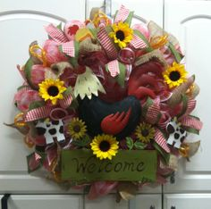 """26"""" A Country Welcome Deco Mesh Wreath, Price $90. To view and purchase this wreath, click on the following link, http://www.countrychicscreations.com/deco_mesh_wreaths."""