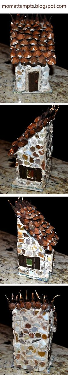 Directions to make your own fairy house out of a bird house using pine cones for the roof!!! How cute!! www.momattempts.blogspot.com
