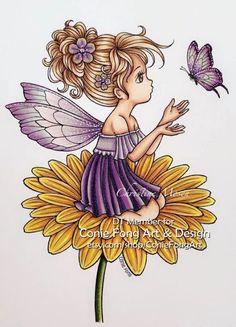 Christine Copic: DT CONIE FONG - FLUTTERBY DAISY RIGHT - PURPLE Fantasy Landscape, Copic, Namaste, Coloring Books, Daisy, Stamp, Paintings, Purple, Drawings