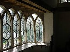 A Grand Scaled Pair Of American Gray Painted Neogothic Window