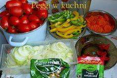 Peggi w kuchni: Sałatka z pomidorów French Onion, Aga, Pork Chops, Stuffed Peppers, Chicken, Vegetables, Food, Meal, Stuffed Pepper