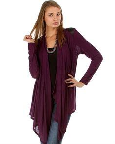 Plum Cardigan with Pu Leather Shoulder Accents from My Fashion Wear! www.myfashionwear.com