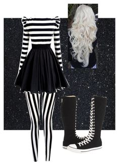 """""""Fem!Jack Skellington"""" by crazygurl5302 ❤ liked on Polyvore featuring Dabuwawa and Converse"""