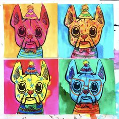 Art is anything you can get away with- This time we got away with making multiple copies of dog portraits without making a mess! Classroom Art Projects, Art Classroom, Projects For Kids, Andy Warhol Art, Drawing Projects, Dog Years, Dog Portraits, Drawing For Kids, Art Education