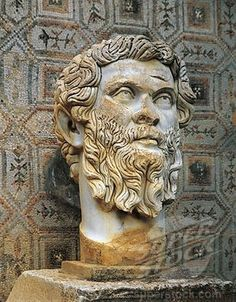 Algeria, Djemila, Colossal head of the Emperor Septimius Severus (Lucius Septimius Severus, Leptis Magna, 146 - York 211)