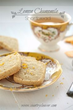 Lemon Chamomile Shortbread Cookies by Country Cleaver. Lemon Chamomile Shortbread cookies are mix zesty lemon and calming chamomile in a buttery, flakey cookie. And they are incredibly simple to make for any occasion. Easy Cookie Recipes, Cookie Desserts, Just Desserts, Delicious Desserts, Dessert Recipes, Bar Recipes, Shortbread Recipes, Shortbread Cookies, Yummy Cookies