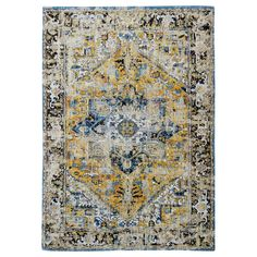 Antique Heriz rug from the Antiquarian Collection - Amir Gold 8704 - Louis De Poortere Store Dark Grey Rug, Black Rug, Brown Rug, Yellow Rug, Red Rugs, Antique Shops, Stores, Ideas