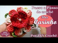 Passo a Passo de Crochê Flor carinho por JNY Crochê - YouTube