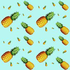 Pineapple Light Blue - Small Print fabric by shopcabin on Spoonflower - custom fabric