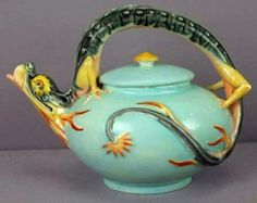 Wedgwood; Majolica Pottery, Teapot & Cover, Dragon Handle, Turquoise, 6 inch.