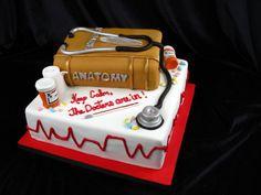 Graduation cake, doctor cake, vet cake, medical cake, book cake, pills, stethoscope,