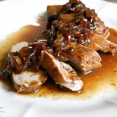 Pork Loin with Port Shallot Sauce Vintage Kitchen Notes Hot Beef Sandwiches, Paella, Cuisine Diverse, Steak Butter, Pork Dishes, Pork Loin, Meals For One, Pork Recipes, Cooker Recipes