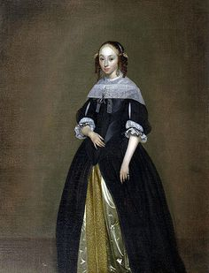 Gerard ter Borch Flemish) Portrait of a Young Lady 17th Century Clothing, 17th Century Fashion, 16th Century, Historical Costume, Historical Clothing, Female Clothing, Baroque Painting, Rococo Fashion, Great Fire Of London