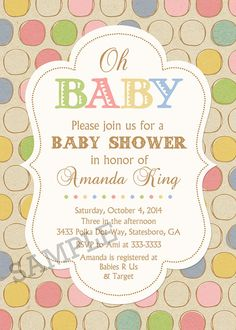 Vintage Look Polka Dot Baby Shower Invitations by PartyPopInvites