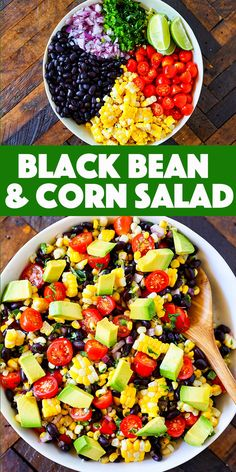 Fresh and delicious, this Black Bean and Corn Salad recipe is the perfect side dish for summer. Black beans, fresh corn, sweet cherry tomatoes are paired with red onions, cilantro and fresh lime juice for an incredibly versatile Mexican salad. Corn Salad Recipes, Corn Salads, Healthy Salad Recipes, Fresh Corn Recipes, Easy Summer Meals, Summer Salads, Summer Recipes, Mexican Salads, Mexican Food Recipes