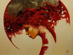 Circular, abstract art <3 You will fall in love with this Woman of Red!