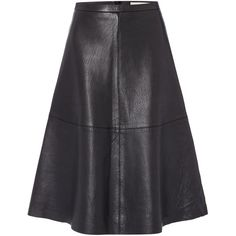 Oui A line leather skirt (€210) ❤ liked on Polyvore featuring skirts, black, women, leather a line skirt, knee length a line skirt, leather skirt, a-line skirt and knee length leather skirt
