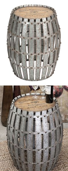This unique design is lock, stock, and barrel. In other words, it's everything. Galvanized, riveted metal strips combine with a wooden top for a look that takes mixed materials to an impressive new lev... Find the Armitage Barrel, as seen in the Industrial Seaside Raw Bar Collection at http://dotandbo.com/collections/industrial-seaside-raw-bar?utm_source=pinterest&utm_medium=organic&db_sku=118912