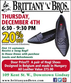 Don't miss Brittany N Bros this Thursday night during downtown Lindsay Shop Hop & Wine Walk!! 20% OFF, DRAW PRIZE valued at $275 & more! Look for brittanynbros on Facebook & Twitter and sign up for our newsletter at www.brittanyandbros.com Door Prizes, House Drawing, Thursday Night, Brittany, Events, Sign, Facebook, Twitter, Leather