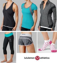 Running clothes from Lulu ... Love ! I have these capris! LOVE LOVE LOVE LOVE THEM