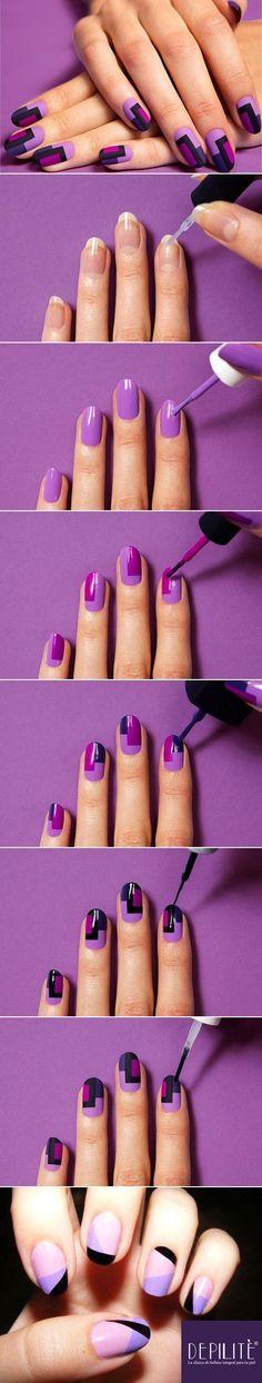 Nails: Otra forma fácil de conseguir uñas de moda y decoradas de forma sencilla es con dos esmaltes en colores que combinen o contrasten. Puedes dividir tu uña a la mitad ya sea en forma vertical u horizontal. Tú decides cuál sería la mejor forma de llevar estos colores.