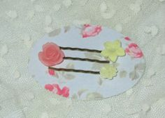 Set of 3 Bobby Pins Pink Frosted Resin Rose Pale by RitasGarden, $6.75