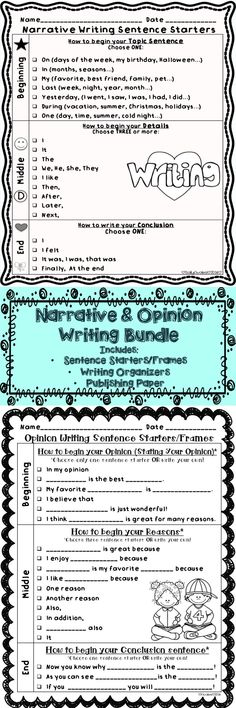 This set of Opinion & Narrative writing sentence starters/frames, graphic organizers, and publishing templates are perfect to help your little writers write opinions and narratives. $