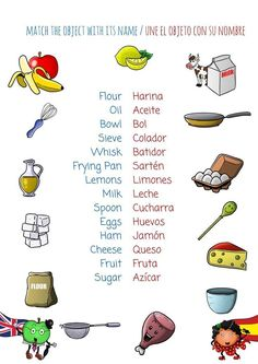 Original Bilingual Cookbook for English and Spanish Learners bilingual cookbook: learn Spanish or English while having fun in the kitchen Spanish Notes, Spanish Basics, Spanish English, Spanish Lessons, Learn English, Spanish Food, English Grammar, Food Vocabulary, Spanish Vocabulary