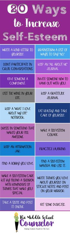 20 Ways To Increase Self Esteem - The Middle School Counselor Middle School Counselor, Elementary School Counseling, Middle School Behavior, Self Esteem Activities, Therapy Activities, Self Esteem Worksheets, Teen Activities, Coping Skills, Social Skills