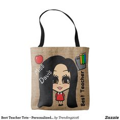 This cute and fashionable tote bag features a cartoon caricature of a female teacher with long black hair and brown eyes. Add the teachers name to the bag by changing the existing text template field. Give this personalized caricature tote bag to your favorite teacher to let her know she is the best teacher ever. These make great teacher thank you and end of school term teacher gifts. This bag features a teacher with long black hair and brown eyes. Other eye and hair colors and hair styles…