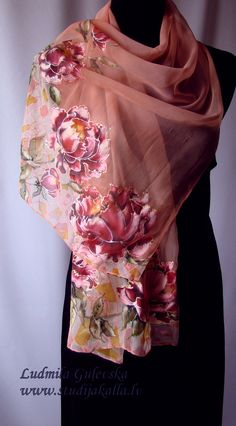 Hand painted silk shawl pleasantly refreshes monochrome clothes, keeps the body warm in cold weather. Silk is nice gentle to your skin, creates a sense of lightness and freedom. Each scarf is a work of art that is impossible to replicate.  Length 1.50 m, width 0.48 m.  You can wash it in warm water (30-40 degrees C) using detergent for colored clothes. Iron wet from the left side. Can be used dry cleaning. The color that you see may be slightly different from the actual color, each photo…