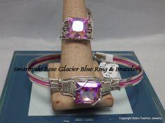 Rose Glacier Blue Swarovski Element Bracelet & Ring Set by BobsFashionJewelry on Etsy