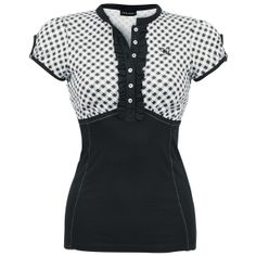 Shirt with slight puff sleeves, buttons on the chest, contrast-coloured seams on the front and logo application.
