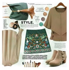 """""""Corduroy Embroidered A-Line Skirt"""" by katjuncica ❤ liked on Polyvore featuring Nude by Nature, Terre Mère, MINISKIRT, alineskirt and grinandbrown"""