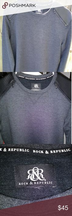 ROCK & REPUBLIC CREW NECK The shoulders are leather and has zippers. Charcoal black. EXCELLENT condition. Worn literally once. Rock & Republic Shirts Sweatshirts & Hoodies