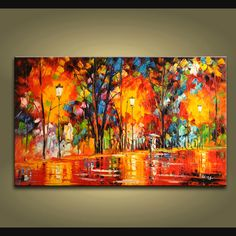 Elegant Designed Palette Knife wall art Landscape oil painting on canvas. This painting has been stretched on wooden bar and custom framed by a spe Large Abstract Wall Art, Large Wall Art, Framed Wall Art, Canvas Wall Art, Contemporary Wall Decor, Modern Wall Art, Modern Contemporary, Modern Art Paintings, Panel Wall Art